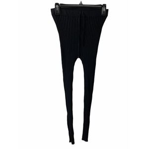 Active Usa Black Ribbed Tight Tie Front Leggings